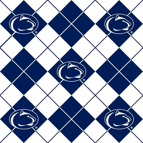 60'' Wide Collegiate Fleece Penn State University Argyle Fabric By The Yard ()
