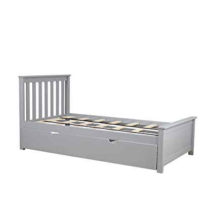 new arrival 96c34 53a6e Max & Lily Solid Wood Twin-Size Bed with Trundle Bed, Grey