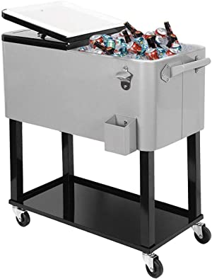 Clevr 80 Quart Qt Rolling Cooler Ice Chest for Outdoor Patio Deck Party, Grey, Portable Party Bar Cold Drink Beverage Cart Tub, Backyard Cooler Trolley on Wheels with Shelf, Stand, & Bottle Opener
