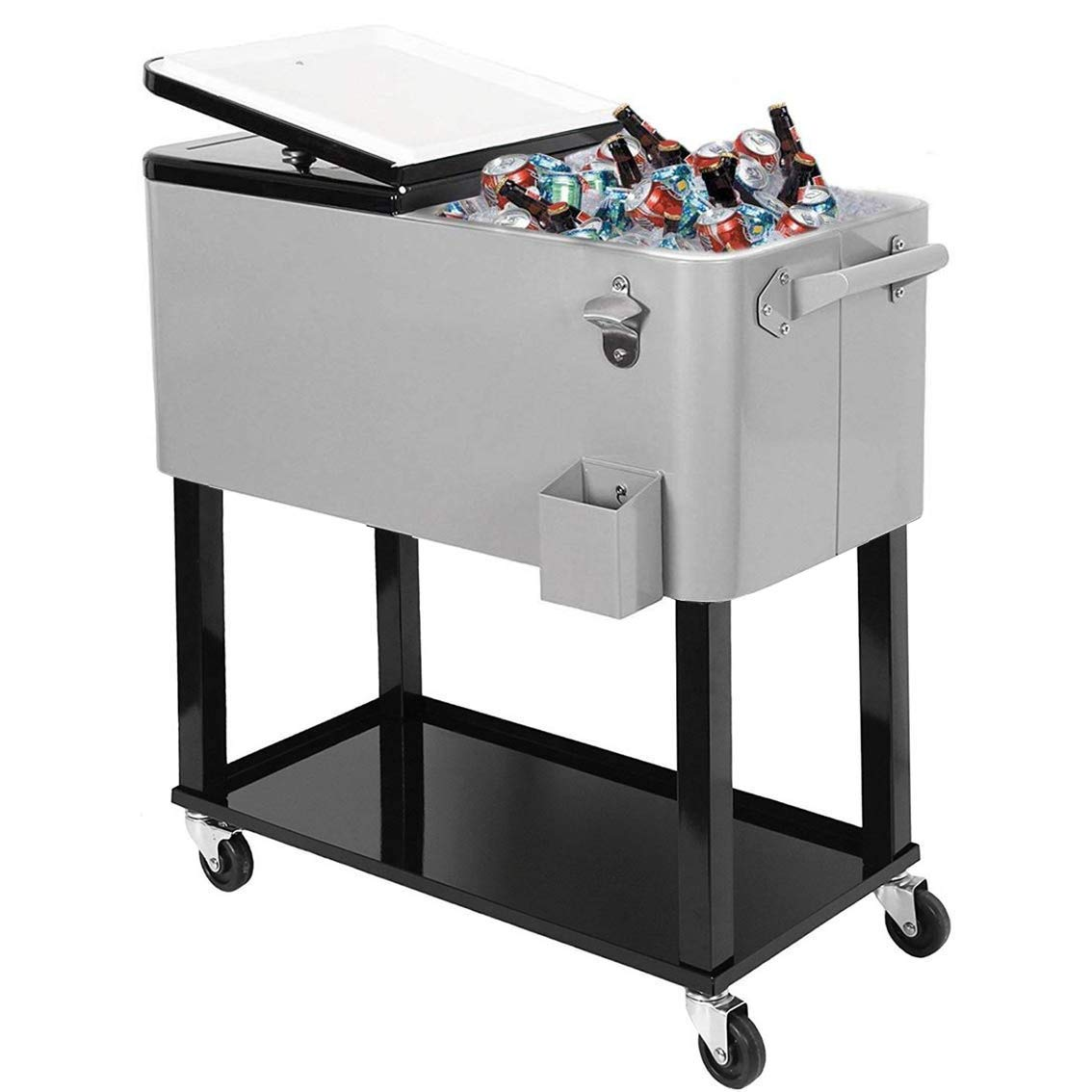 Clevr 80 Quart Qt Rolling Cooler Ice Chest for Outdoor Patio Deck Party, Grey, Portable Party Bar Cold Drink Beverage Cart Tub, Backyard Cooler Trolley on Wheels with Shelf, Stand, Bottle Opener by Clevr