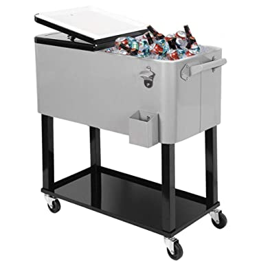 Clevr 80 Quart Qt Rolling Cooler Ice Chest for Outdoor Patio Deck Party, Grey, Portable Party Bar Cold Drink Beverage Cart Tub, Backyard Cooler Trolley on Wheels with Shelf, Stand, Bottle Opener