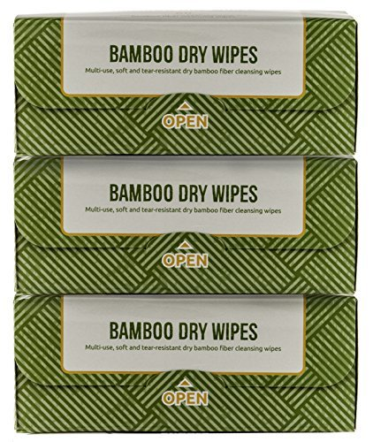3 PACK of Nature's Dawning 100% AUTHENTIC Bamboo Wipes, Dry Multi-Purpose Wipes, 18cmx20cm- 60 Sheet 3 pack REFILL ()