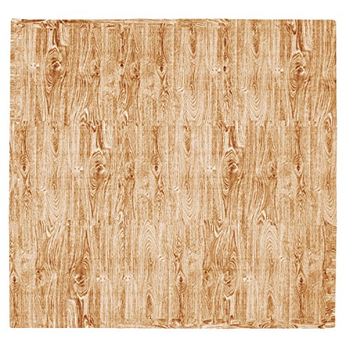 9 Piece Rustic Wood (Tadpoles 9-Piece Natural Wood Grain Playmat Set, Brown)