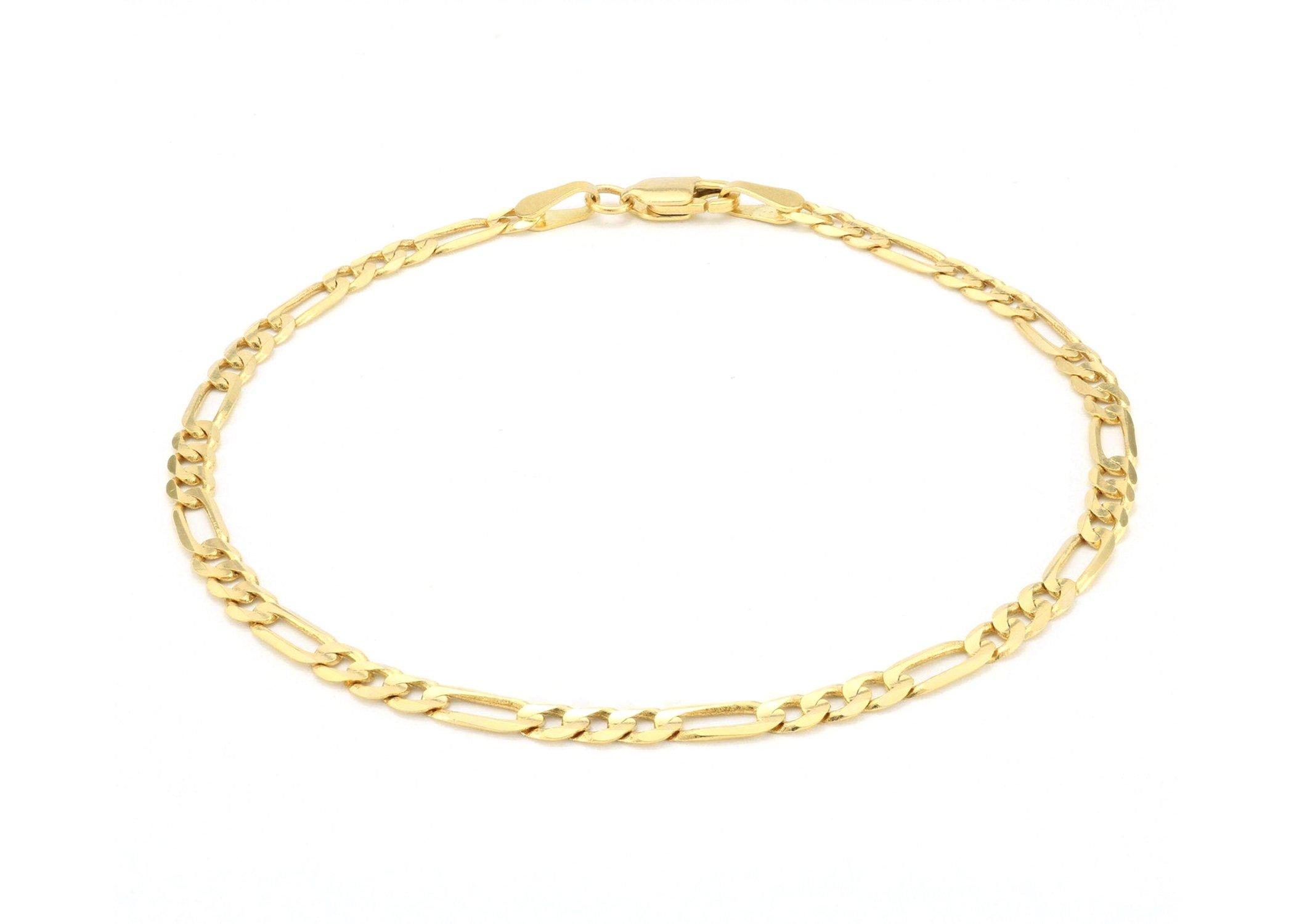 10K Italian Crafted 3.5mm Yellow Gold Figaro Necklace or Bracelet - Women Men Fine Jewelry