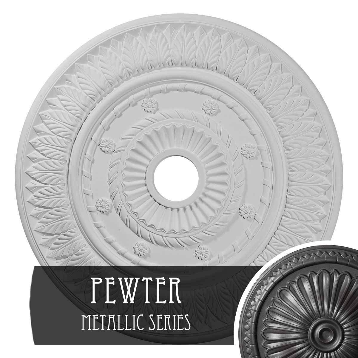 Ekena Millwork CM26LFPES Leaf Ceiling Medallion, 26 3/4'' OD x 3 5/8'' ID x 1 1/8'' P, Pewter