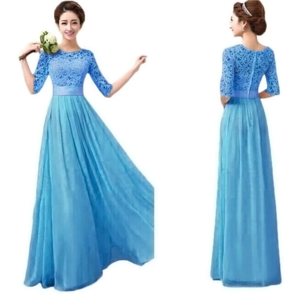 Amazon.com: Women\'s Lace Chiffon A-line Long Maxi Dress Evening ...