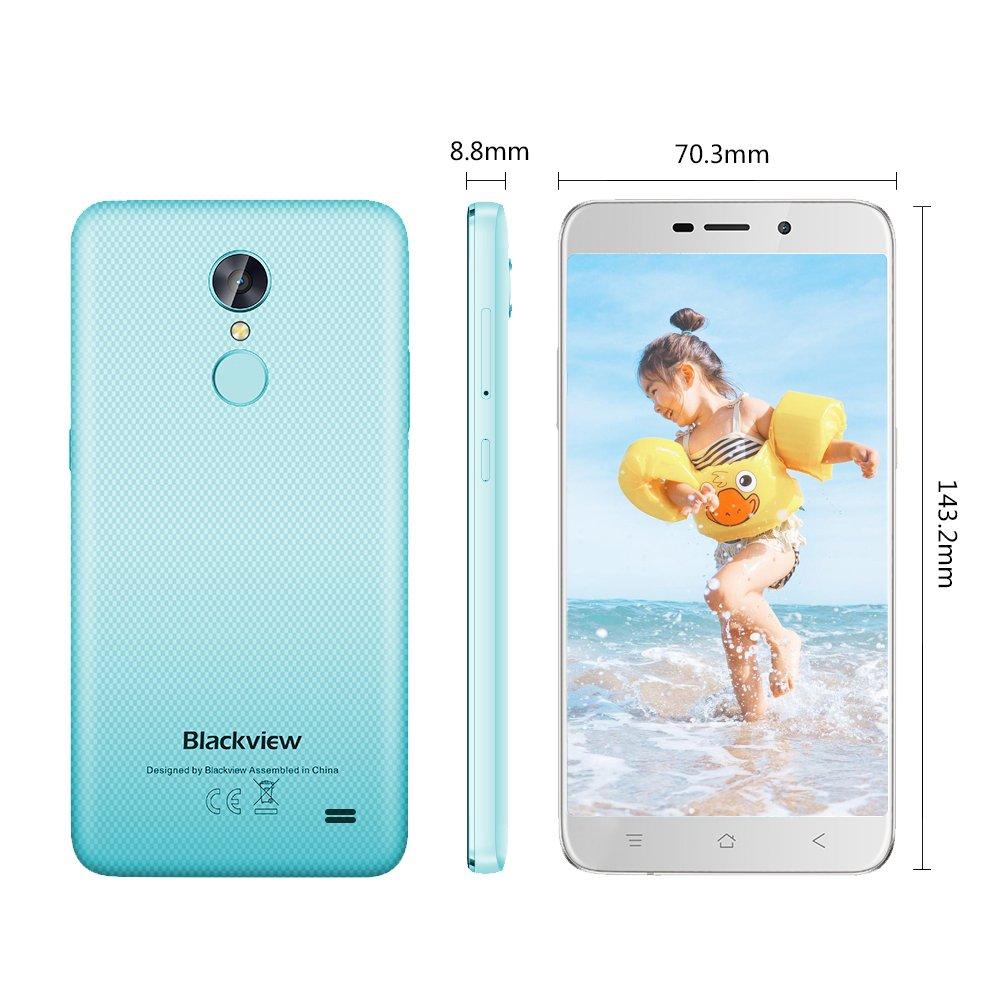 Smartphone Libre, Blackview A10 Moviles Libres Baratos de 5.0 HD IPS 3G Android 7.0, 8MP Cámara Trasera y 5MP de Frontal Móviles, 2GB RAM 16GM ROM, ...
