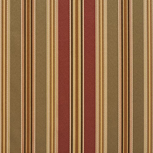 B0190C Green Burgundy And Gold Various Size Striped Silk Satin Look Upholstery Fabric By The Yard ()