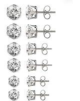 Besjewel Crystal Stud Earrings 3mm-5mm Surgical Stainless Steel Hypoallergenic Earrings, 6 pairs