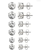 Besjewel Stud Earrings Set 3mm-5mm Hypoallergenic Surgical Stainless Steel Earings for Womens, 6 pairs