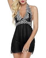 Bluetime Womens Lace Babydoll Sleepwear Halter Nightwear Mesh Lingerie Outfits