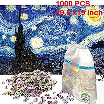 Toysdone Cardboard Jigsaw Puzzles 1000 Pieces Puzzles for Adults Micro-Sized Puzzles Van Gogh Stary Night Painting Jigsaw Puzzles 29.5X19 inch: Toys & Games