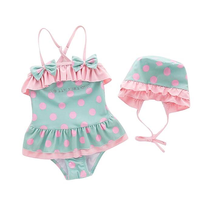 WINZIK Baby Girls Swimwear One-Piece Polka Dot Straps Summer Bikini Swimsuit  Beachwear Bathing Suit 62864248a25