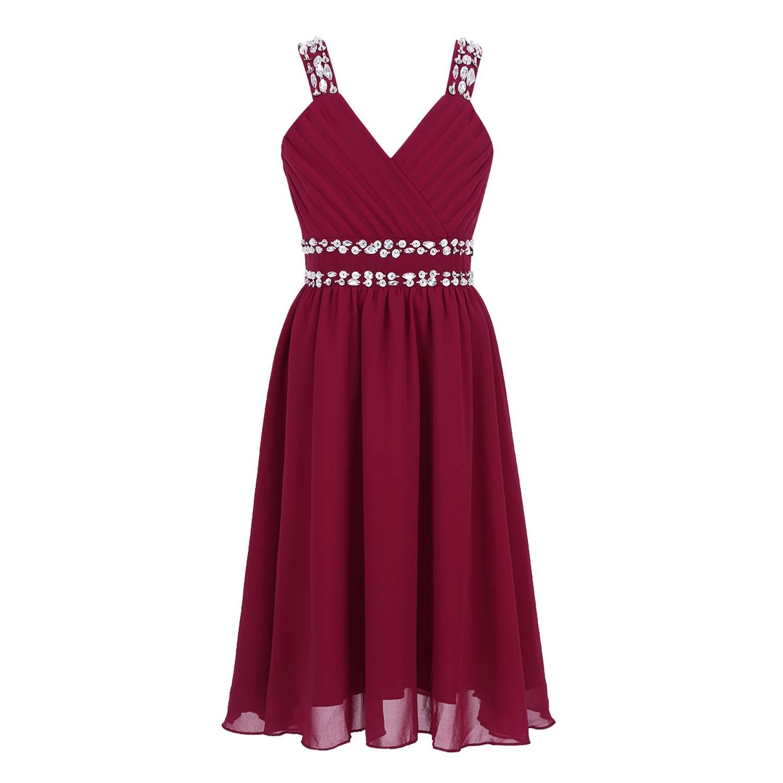 Kids Girls Princess Dress Shoulder Straps Shiny Sequins Rhinestones Chiffon Dress for Summer Wedding Birthday Party Dress,Burgundy,4