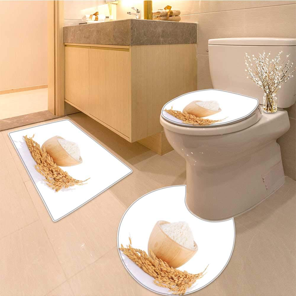 Miki Da 3 Piece Toilet mat set rice plants grains of thai jasmine rice in wood bowl isolated 3 Piece Shower Mat set