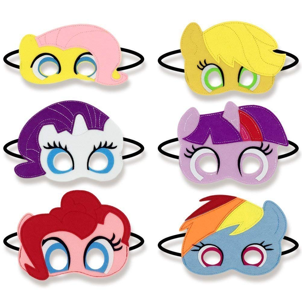 Baken Girls Birthday Party Favors Felt Masks Novelty Toys Girls Birthday Gifts for My Little Pony Party Supplies (6 PCs)