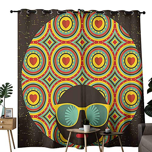Decor Curtains Modern Decor Afro Themed Woman with Glasses Ear Rings with Black Abstract Backdrop Artwork Multicolor Noise Reducing Curtain W96 xL108