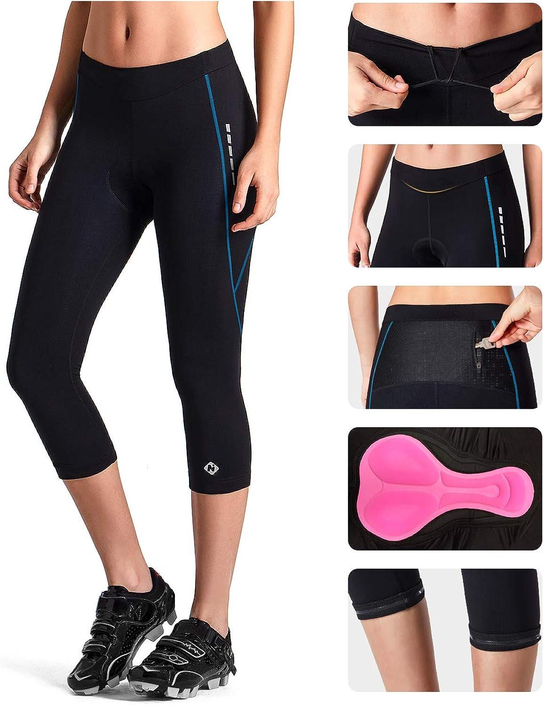 NAVISKIN Womens 3D Padded 3//4 Cycling Tights Bicycle Bike Riding Capris Pants