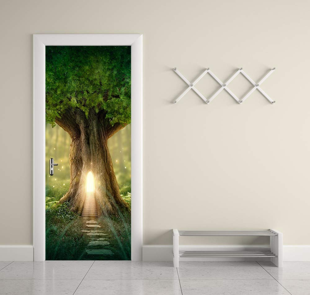 80x200cm WFYY Door Wallpaper Mural 3D Fantasy Tree House Imitation WaterProof Poster Decorative Accessories