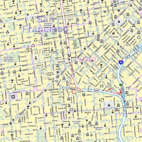 Central San Francisco, California - Portrait - 36 x 48 inches - Laminated - Wall Map by MapSherpa (Image #1)