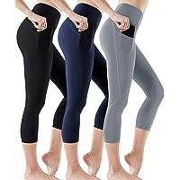 ATHLIO 3 Pack High Waist Capri Yoga Pants with Pockets, Tummy Control Yoga Leggings, 4 Way Stretch Non See-Through…