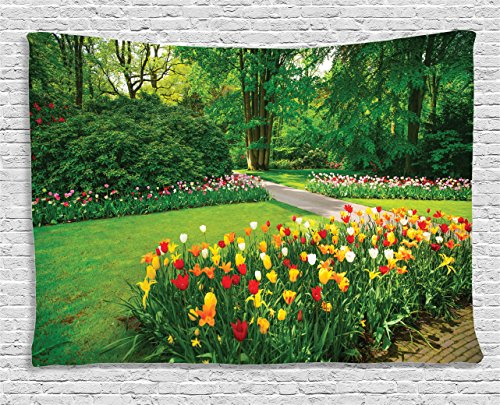Ambesonne Nature Tapestry Flower Country Home Decor, Garden with Tulips and Trees Springtime in Keukenhof Netherlands Europe, Bedroom Living Room Dorm Art Wall Hanging, 60 X 40 Inches, Green from Ambesonne