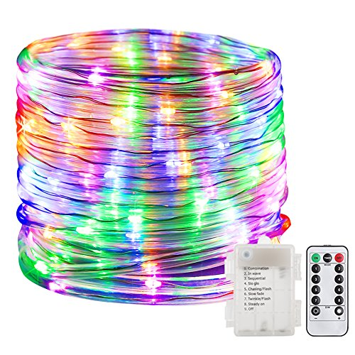 GDEALER 100 LED Rope Lights Battery Operated String Lights Waterproof 33ft 8 modes Dimmable Firefly Lights Fairy Lights with Remote Timer for Outdoor Indoor Home Festival Garden Decoration Multicolor (100 Fireflies)