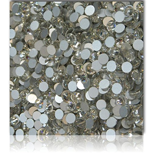 """100% Custom Made (Assorted) 1200 Bulk Pieces of Mini Size """"Glue-On"""" Flatback Embellishments for Decorating, Made of Acrylic Resin w/ Shiny Iridescent Crafting Rhinestone Crystal White Style {Clear} by mySimple Products"""