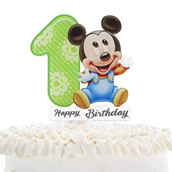 Mickey Mouse 1st Birthday Cake.Mickey Mouse 1st Birthaday Cake Topper Celebrate Baby Shower Luck Kids First Birthday Party Decor