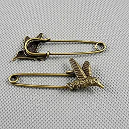 50 PCS Jewelry Making Charms Findings Supply Supplies Crafting Lots Bulk Wholesale Antique Bronze Tone Plated 83053 Hummingbird Safety Pins Brooch