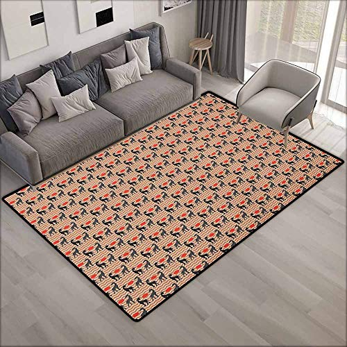 Outdoor Patio Rug,Giraffe Vintage Safari Savannah with Animal Silhouettes and Abstract Sunset on Zigzags,Anti-Slip Doormat Footpad Machine Washable,4'11