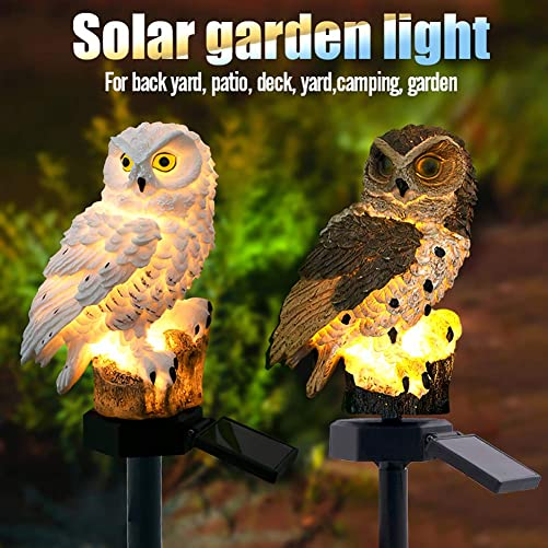 Viugreum Solar Lights Outdoor Decorative, Owl Waterproof Solar LED Lights with Stake for Garden Lawn Pathway Yard Decorations- White 1 Pack