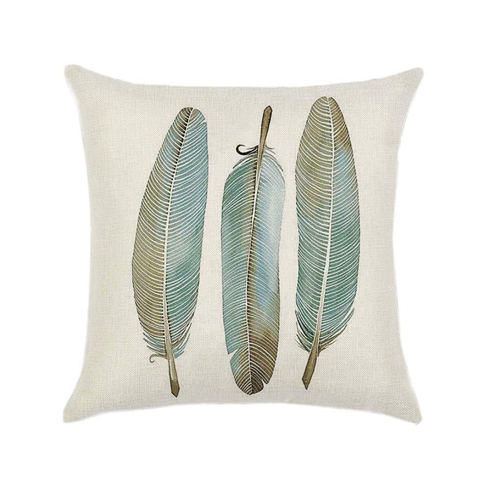 Squenve - Funda de Almohada de algodón con diseño de Plumas ...