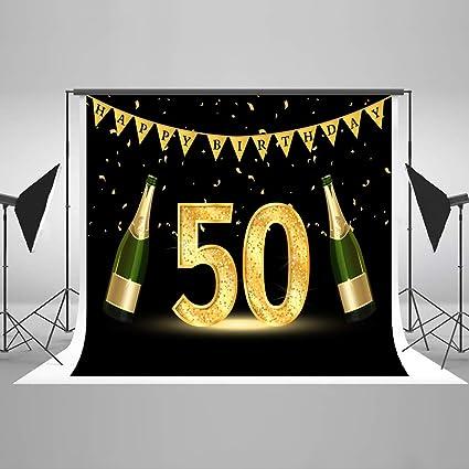 KateHome PHOTOSTUDIOS 2,2x1,5m 50th Fondo de Fotos de cumpleaños Foto de Estudio Stand Fondo Microfiber Fiesta de Feliz cumpleaños Telones de Fondo ...