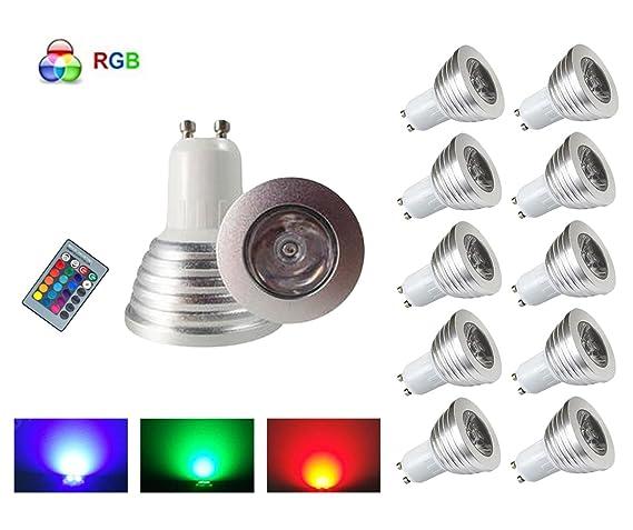 HHD® – Juego de 10 RGB Bombilla LED 3 W 16 colores Cambio de Color