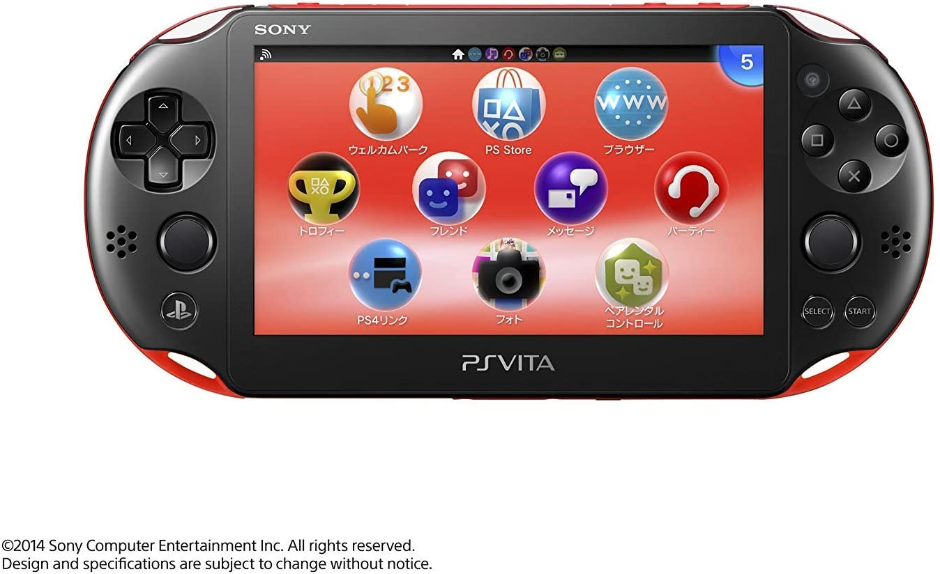 Sony Playstation Vita Wi-Fi 2000 Series Slim (Piano Black/Matte Red) (Renewed)