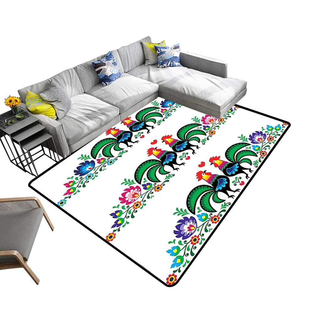alsohome Large Classical Carpet Roosters Polish Culture Slavic Ethnic European Classics Tribal Artwork Image Gr Chic Pattern Anti-Static 24 x 40 inch