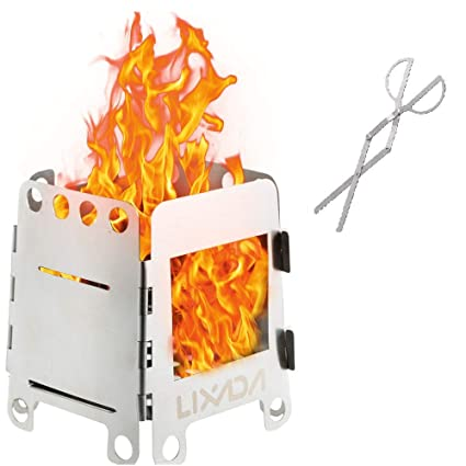 Lixada Estufa de Acampada Portátil Ligero Plegable Estufa de Leña para Cocina Cámping Mochilero al Aire