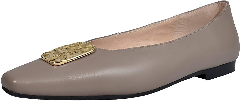 Calaier Femme ashens Square-Toe 1CM Glisser sur Ballerines Chaussures 39 EU|Marron EU|Marron 39 72834c