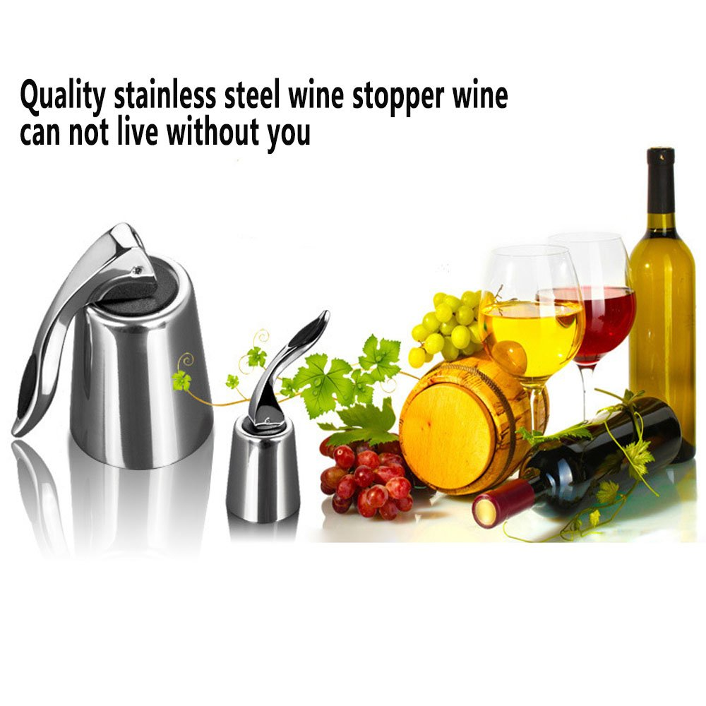Wine Stoppers, ProCIV Set of 3 Red Wine Bottle Stopper Stainless Steel, Vacuum Sealed Bottle Plug Keep Wine Fresh