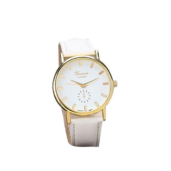 Relojes Unisex Mallom de moda reloj de pulsera de cuarzo analógico banda de cuero de color