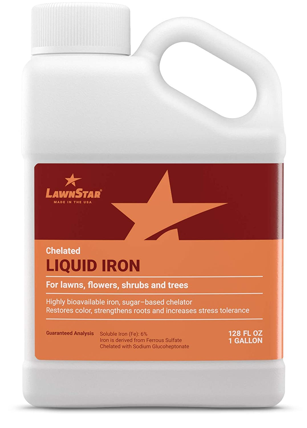 LawnStar Chelated Liquid Iron (1 Gallon) for Plants - Multi-Purpose, Suitable for Lawn, Flowers, Shrubs, Trees - Treats Iron Deficiency, Root Damage & Color Distortion – EDTA-Free, American Made