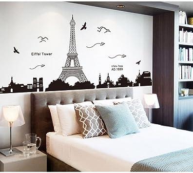Pegatina de pared vinilo adhesivo decorativo para cuartos, dormitorio,cocina, ... vista de Paris Torre Eiffel Color Negro OPEN BUY: Amazon.es: Bricolaje y herramientas