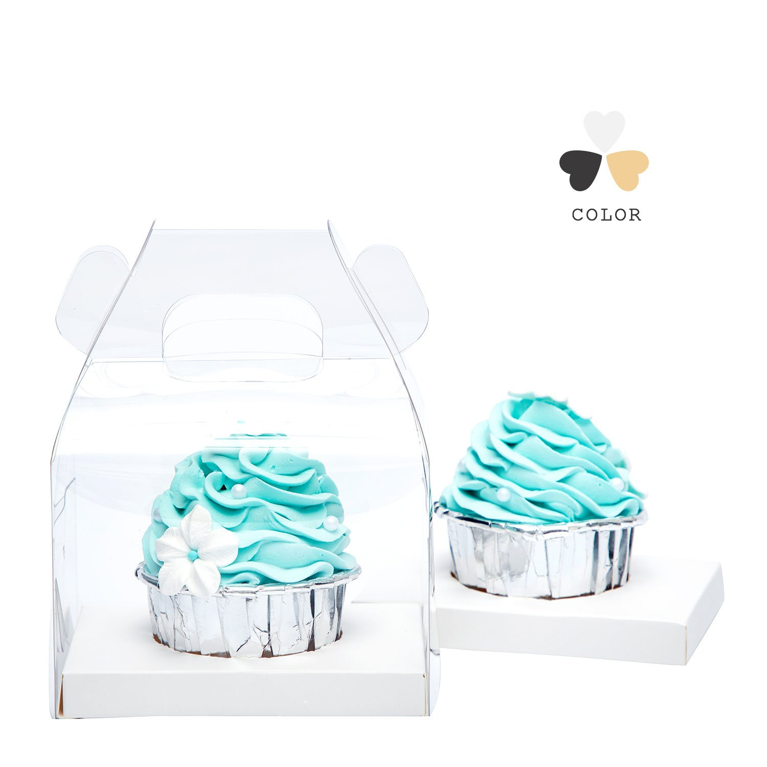 Yotruth Clear Single Cupcake Boxes With Handle and White Insert 20 Pack For Sweet Treat Box by yotruth (Image #3)