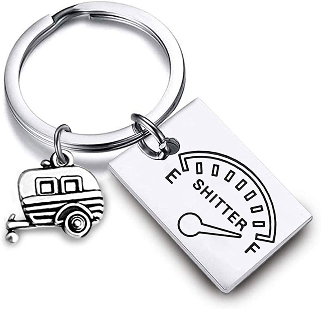 HOLLP Shitter's Full Keychain Happy Camper RV Keychain Camper Keychain with Van Charm Trailer Christmas Vacation Jewelry