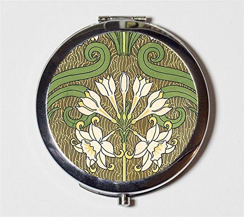 Art Nouveau Floral Compact Mirror Flowers Edwardian for Makeup Cosmetics