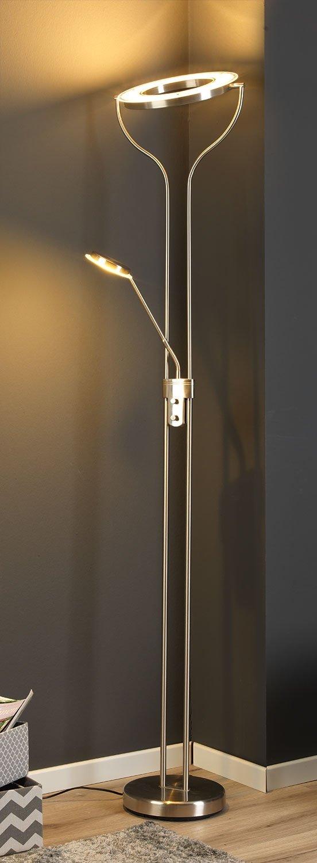 LED-Stehlampe Stehleuchte Standleuchte Deckenfluter SEATTLE   180 cm hoch   Silber   Nickel   Dimmbar