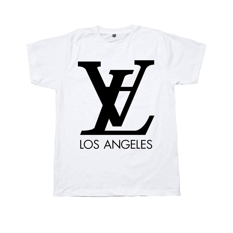 c45715f11 Amazon.com: Unisex LV - LA Los Angeles Parody T-Shirt Art Graphic Louis  Vuitton Inspired Screen Printing: Handmade