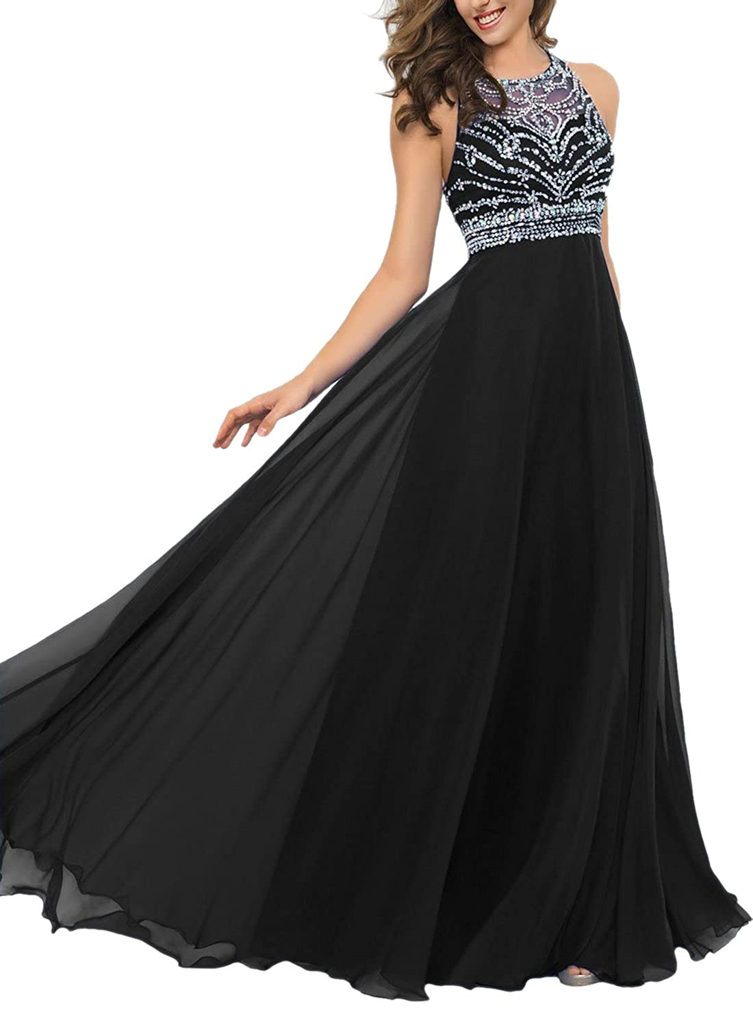 Promonline long prom dresses chiffon beaded jewel evening gowns