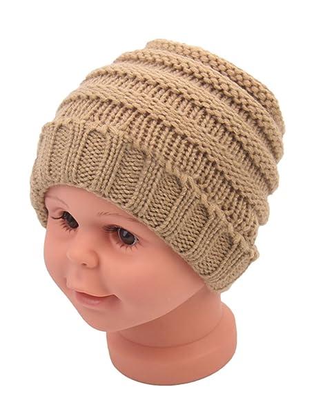9db82384 Amazon.com: Beanie Skull Slouchy Caps Unisex Baby Boy Girls Warm Crochet Winter  Wool Ribbed Knit Ski Hat: Clothing